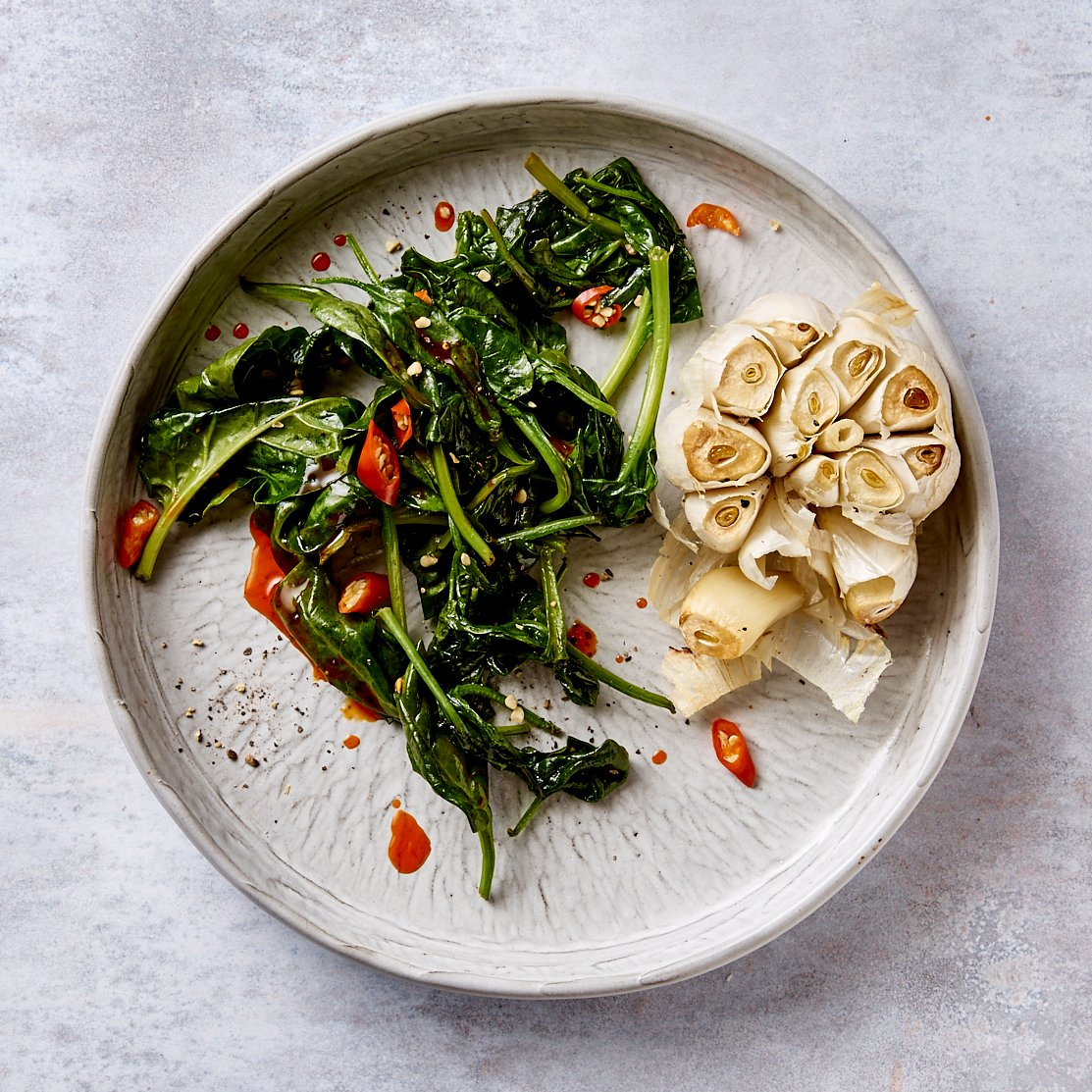 Roasted Garlic-spinach-chilli oil